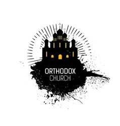 Orthodox cathedral church silhouette vector