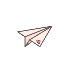 Paper plane decorated with heart vector