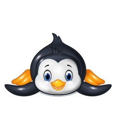 Penguin is sliding on the snow vector image
