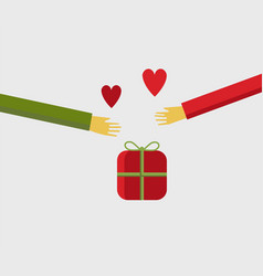 People hands sharing a christmas gift with love vector