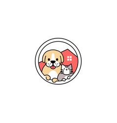 pet dog cat house in circle logo icon vector image