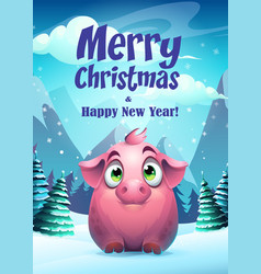 pig greeting card merry vector image