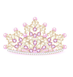 Pink diadem feminine crown with jewels vector