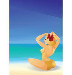 pinup curvy blonde girl on ocean shore decorates vector image