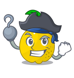 pirate character ripe quince fruit with leaf vector image