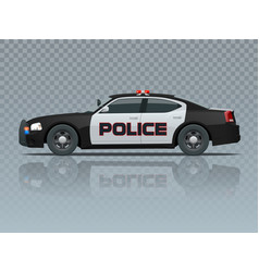Police car with rooftop flashing lights a vector