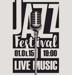 poster for a jazz festival live music with a mic vector image