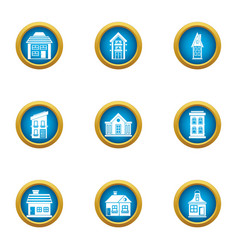 Private house icons set flat style vector