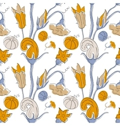 Pumpkin seamless pattern in victorian style vector