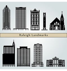 Raleigh landmarks and monuments vector