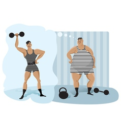 Retro weightlifter vector image