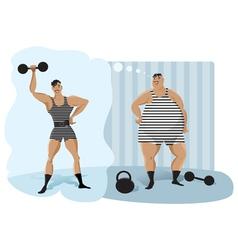 Retro weightlifter vector image