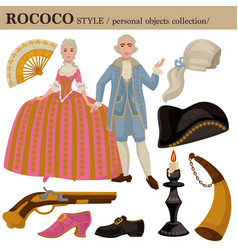 Rococo or 18 century european old retro fashion vector