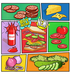 Sandwich advertising comic page vector