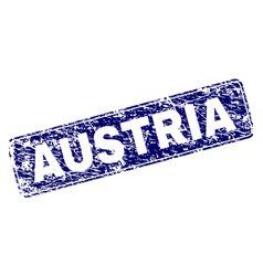 Scratched austria framed rounded rectangle stamp vector
