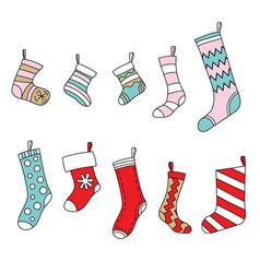 set christmas cute colorful socks vector image