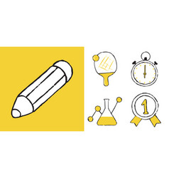 Set of educations and sciences doodle icons vector
