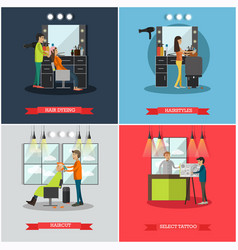 Set of hairdressing salon and tattoo parlor vector