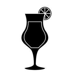 silhouette cocktail glass cup alcoholic beverage vector image