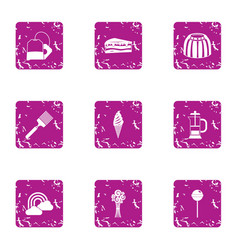 sweet city icons set grunge style vector image