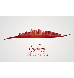 Sydney skyline in red vector image