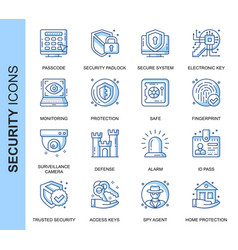 thin line security related icons set vector image