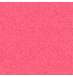 Thin Line Valentine Day Pink Seamless Pattern vector