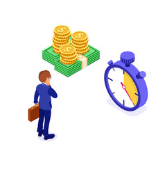 time or money businessman faced with choice vector image