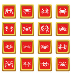 various crab icons set red vector image