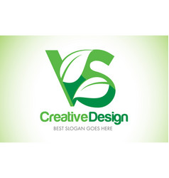 Vs green leaf letter design logo eco bio leaf vector