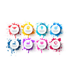 white circles with splashes paints vector image