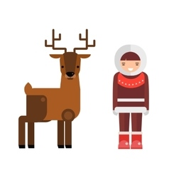 Wild deer animal and eskimo people flat vector