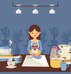woman is washing dishes vector image