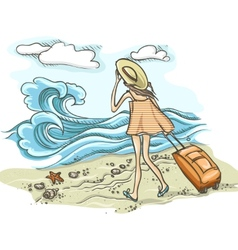 Woman With Suitcase On The Beach vector image
