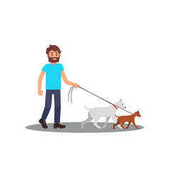 Young smiling man walking with dogs social worker vector