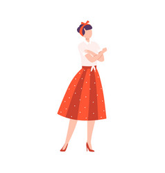 young woman in retro dress crossing her arms vector image