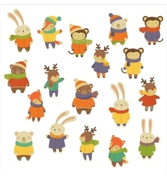 Animals Wearing Warm Clothes vector image vector image