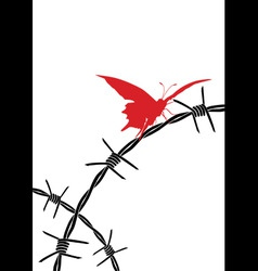 barbed wire and butterfly vector image