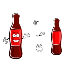 Cartoon bottle of soda with thumb up vector image vector image