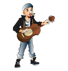 rockstar playing guitar and smoking cigarette vector image