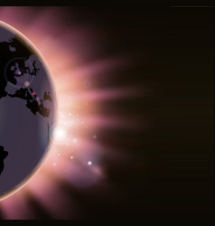 sun rays burst over the globe vector image vector image