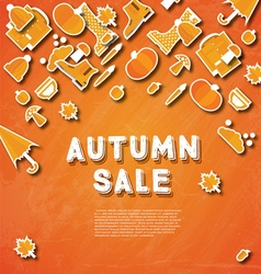 Autumn sale banner with pumpkin leaves vector image vector image