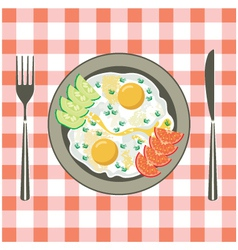 Fried eggs in a plate vector image