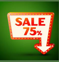 retro billboard with sale 75 percent discounts vector image