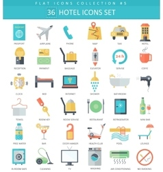 hotel color flat icon set Elegant style vector image