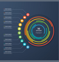 presentation infographic circle chart 10 options vector image