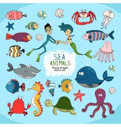 Set of hand-drawn cartoon sea life vector image vector image