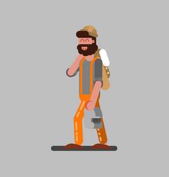 welder walking with helmet vector image
