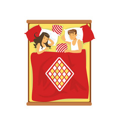 young couple sleeping on the bed vector image