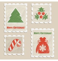 Christmas stamps vector image vector image